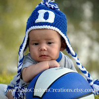 Crochet hand embroidered Duke Hat with earflaps and braids. Newborn to adult sizes available.