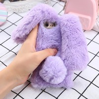 Real Rabbit Fur Case For iPhone 7 7 Plus Cover Luxury Cute Bling Diamond Bowknot Long ears Rabbit Soft Fluffy Hair Phone Cases