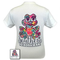 SALE Girlie Girl Originals Southern Preppy Frog Pattern White T-Shirt