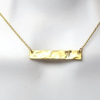 Long, Rectangle, Personal, Letter, Initial, Bar, Gold, Silver, Necklace, Custom, Hand stamped, Initial, Necklace, Modern, Minimal, Gift
