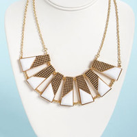 Plot the Points Gold and White Statement Necklace