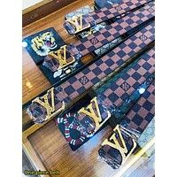 LV Louis Vuitton New fashion letter buckle tartan leather couple belt