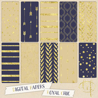 Blue and Gold Digital papers navy blue and mustard with gold glitter foil arrows stripes dots confetti digital backgrounds cards invites
