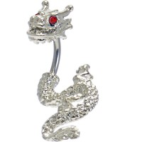 Ruby Red Cubic Zirconia Detailed Dragon Belly Ring