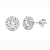 Stud Earrings Sterling Silver Pave White CZ Cubic Zirconia 9mm Circle MP Frame