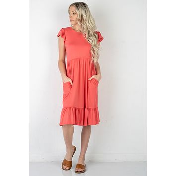 Sweet Summer Ruffle Dress in Coral (S-XL)