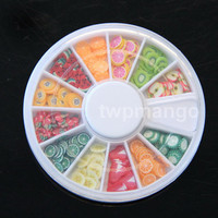 180pcs Polymer Clay Miniature Fruit Slices plus Wheel Container...Nail Art N180