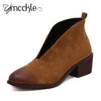 Women Nubuck Leather Pointed Toe Booties Ladies Fashion Deep V Front Chunky Med Heel