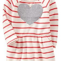 Striped Heart-Print Jersey Dresses for Baby