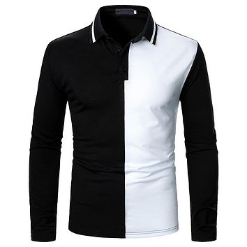 Men's Two-color Stitching Long Sleeve Shirts