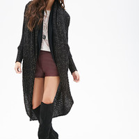 FOREVER 21 Metallic Knit Shawl Cardigan Black/Gold