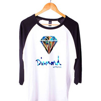 Diamond Supply Co Custome Short Sleeve Raglan - White Red - White Blue - White Black XS, S, M, L, XL, AND 2XL*AD*
