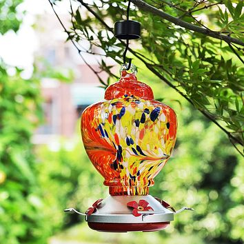 Red Hand Blown Glass Hummingbird Feeder with Perch -  Holds 38 oz of Nectar