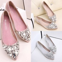 Women's Pointed Toe Ladise Shoes Casual Rhinestone Low Heel Shoes Wedding Shoes chaussure femme talon zapatos mujer