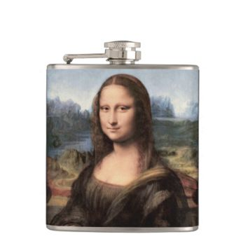 Mona Lisa Portrait / Painting Hip Flask