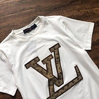 Onewel Louis Vuitton patchwork embroidered T-shirt White