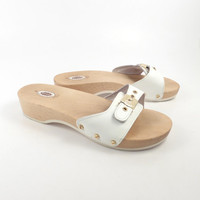 Dr Scholls Sandals Vintage 1990s White Leather and Wood Exercise Shoes Women's size 8