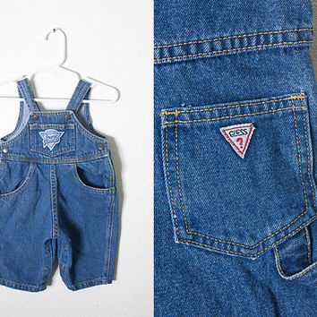 Vintage GUESS Jeans 80s Baby Overalls / Girls Boys Unisex Snap Crotch Playsuit One Piece Retro Baby Jean Shorts Bib Overalls 80s Guess Jeans