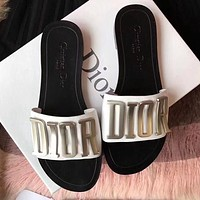 Dior CD Casual Ladies Shoes Beach Sandals Metal Letter Logo Flat Slippers