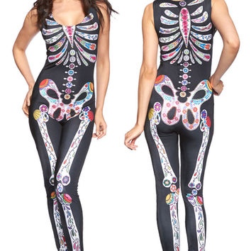 novelty women clothing Sugar Skull print sleeveless Masquerade Halloween costume fancy ball party playsuit bodycon jumpsuit
