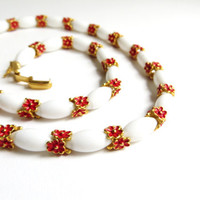 Vintage Crown Trifari Red Enamel Flower Necklace, Floral Flower Necklace, White Beads, Gold Tone Metal