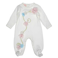 Baby Biscotti Follow the Flower Footie in Ivory