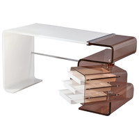 molded white and smoked lucite desk by Rena Dumas - France 1970