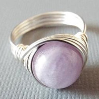 Amethyst Ring - Purple Stone Ring - Light Amethyst Ring - Chunky Ring - Wire Wrapped Ring - Gift for Best Friend - Silver Amethyst Ring