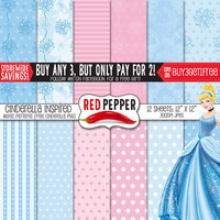 Princess Cinderella Inspired - Digital Paper - Instant Download - Ideal For Scrapbooking and Background Supplies