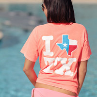 I Texas Texas Red & White Short Sleeve - Neon Coral