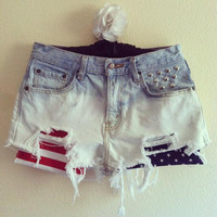 High Waisted Bleached American Flag Shorts by VintageAndUrbanSouls