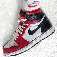 Nike Air Jordan 1 Retro High Satin Snake Chicago Sneakers Shoes