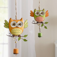 Iron owl decoration shingle pendant with wind chimes home child room bar decoration,christmas gift,new year,plaque