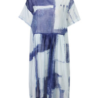 Organza Plaid Patchwork Short Sleeve Loose Dress For Women
