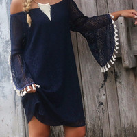 So Boho Navy Crochet Lace Dress
