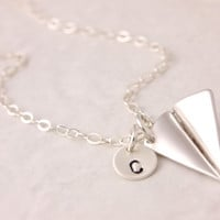 Silver Airplane Necklace, origami necklace, origami plane, paper airplane, sterling silver, silver plane, 3D charm, silver paper plane