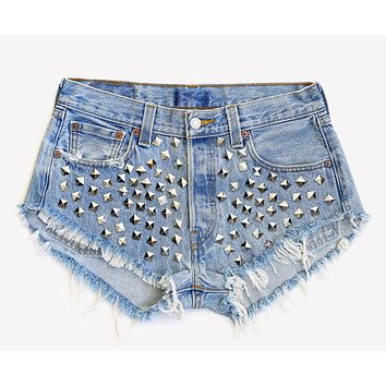 Wunderlust Studded Vintage High Waisted Shorts