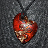 Murano Glass (Red, Gold, Black) Heart Shaped Pendant Necklace