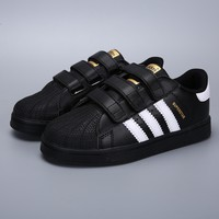 Adidas Original Superstar Black White Velcro Toddler Kid Shoes - Best Deal Online