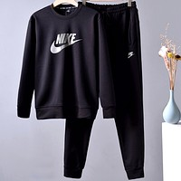 Nike autumn and winter new plus velvet round neck sweater set two-piece
