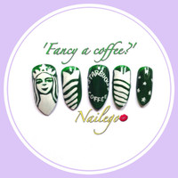 Nailegos 'Fancy a coffee?' Starbucks inspired stilletto false fake hand painted custom nail set