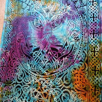 """Hippie/Indian Tapestry/Wall/Bedspread/Tablecloth Tie Dye Celtic Tree of Life 72""""x 108"""" TP75TD"""