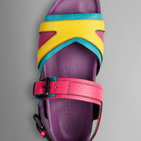 The Field Sandal in Colour Block Leather