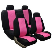 FH GROUP FH-FB105114 Classic Suede Car Seat Covers Pink / Black color Airbag Compatible and Rear Split