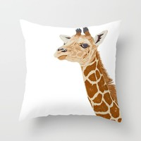 BABY GIRAFFE Throw Pillow by Je Suis Un Lapin   Society6