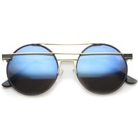Modern Metal Frame Double Bridge Colored Mirror Lens Round Sunglasses 59mm