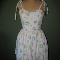 Custom Made to order Hello Kitty Sweetheart Ruffled Halter Strapless mini Dress