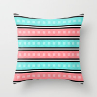 Distressed Square Stripe Throw Pillow by Dale Keys | Society6