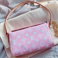 LV Fashion New Monogram Print Leather Shoulder Bag Handbag Pink