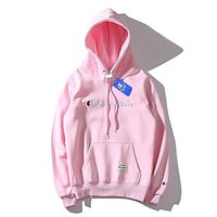 Champion autumn new tide brand embroidery letter logo round neck hooded sweater Pink